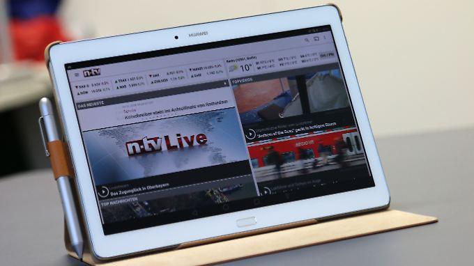 Die zweispaltige Darstellung macht Apps wie n-tv auf dem Mediapad angenehm lesbar.