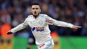 Remy Cabella von Olympique Marseille - nach einem Tor gegen den Konkurrenten Paris St. Germain.