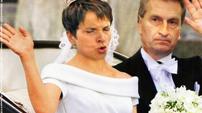 Werden wohl kein Traumpaar mehr: Günther Oettinger und AfD-Chefin Frauke Petry in einer Twitter-Montage.