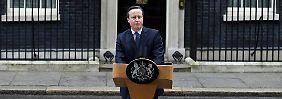 Ansprache vor der eigenen Haustür: David Cameron spricht vor seinem Amtssitz