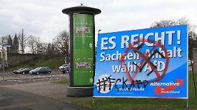 Ein Wahlplakat in Magdeburg