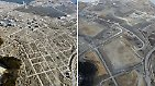 Hier ist die Stadt Rikuzentakata in der Präfektur Iwate kurz nach der Katastrophe und fünf Jahre später (rechts) zu sehen.