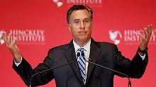 """Romney fürchtet eine """"lange Rezession"""" und außenpolitischen Schaden unter einem Präsidenten Trump."""