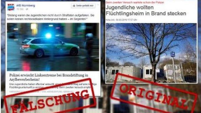 """Auf diesen Bildern ist deutlich zu erkennen: Mit der Originalüberschrift der """"Abendzeitung"""" hat die Variante der AfD wenig zu tun."""