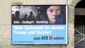 """Eines der Plakate, deren Finanzierung unbekannt ist und die Uwe Junge zufolge nicht dem """"Stil"""" der AfD entsprechen."""