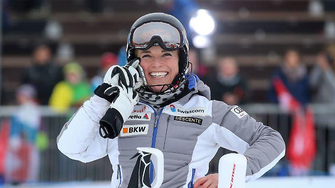 So sehen Sieger aus: Die Schweizerin Lara Gut sichert sich den Gesamtsieg im Weltcup.