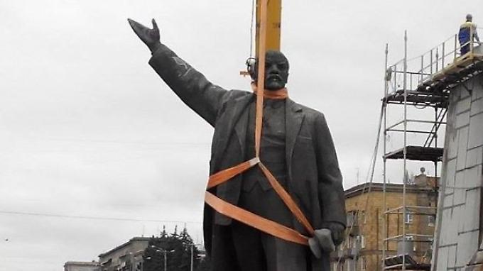 Seit 1964 stand die Statue auf dem Platz in Saporischja.