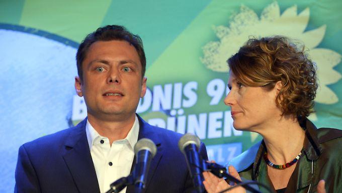 Die Spitzenkandidaten der rheinland-pfälzischen Grünen für die Landtagswahl, Daniel Köbler und Eveline Lemke.