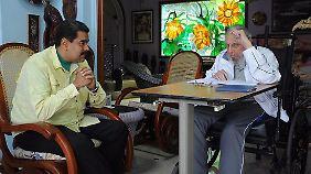 Keine Freunde der USA: Fidel Castro im Gespräch mit Venezuelas Präsident Maduro.