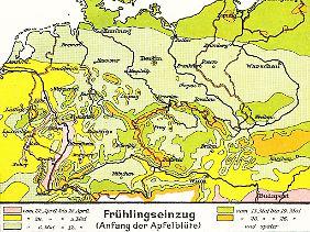 Frühlingseinzug auf einer Karte von 1930.