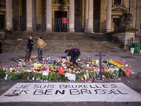 Szene auf dem Brüsseler Börsenplatz