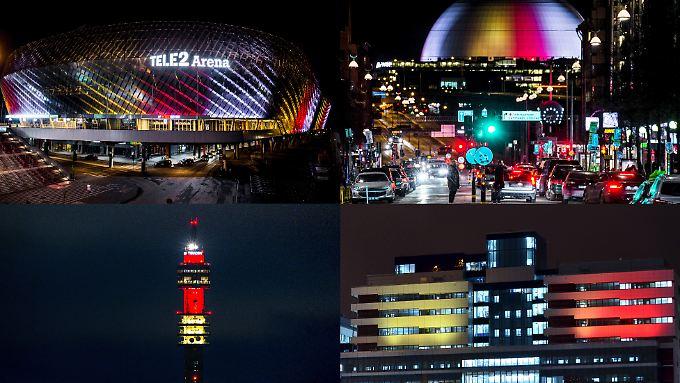 Von oben links im Uhrzeigersinn zu sehen: die Tele 2 Arena, die Ericsson Globe Arena, das Karolinska-Krankenhaus und der Kaknastornet-TV-Turm