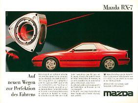 1987 läuft die Werbung für den Mazda RX-7 auf Hochtouren.
