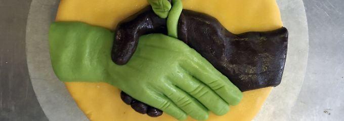 Ein symbolträchtiger Kuchen: Ein CDU-Abgeordneter brachte diese Torte zu den Koalitionsverhandlungen mit den Grünen mit.
