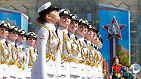 """In Moskau wird der """"Tag des Sieges"""" über Nazi-Deutschland jährlich mit einer riesigen Militärparade gefeiert."""