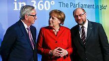 Juncker, Merkel und Schulz bei der Eröffnung der Europa-Ausstellung in Berlin.