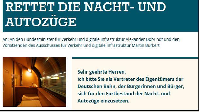 Mit diesem Aufruf wollen die Nachtzug-Fans für den Erhalt kämpfen. Ob sie es schaffen, hängt auch vom Bundestag ab.