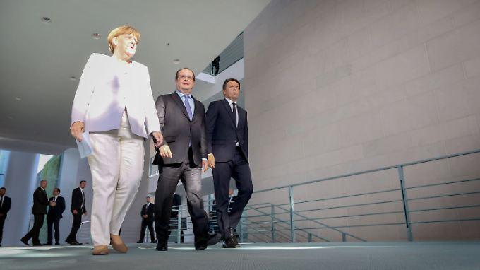 Auch wenn es anders aussieht: Merkel, Hollande und Renzi wollen zusammen an neuen Ideen tüfteln.