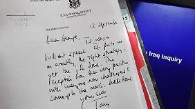 """""""Das war eine brillante Rede"""", schrieb Blair im September 2002 an Bush. Der Brief wurde von der Chilcot-Kommission veröffentlicht."""
