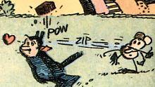 """Vielleicht eines der bekanntesten Comicpaare der Geschichte: """"Krazy Kat"""" und die Ziegelsteine werfende Maus Ignatz von George Herriman."""