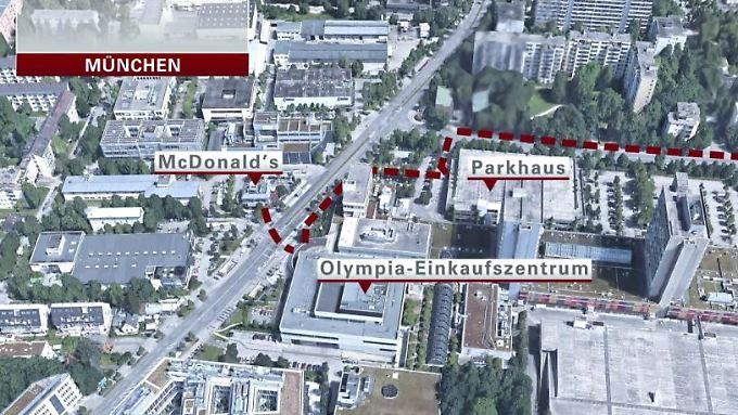 Stationen der Bluttat von München: Schütze einen Kilometer vom Einkaufszentrum entfernt aufgefunden