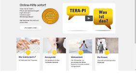 Startseite von terapi.de: Im ersten Schritt sollen sich Hilfesuchende einem Online-Selbsttest unterziehen.