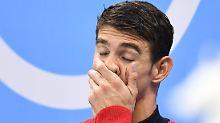 Gerührt, völlig ausgepumpt und gar nicht verschämt: Michael Phelps.
