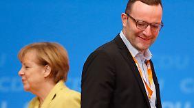 """""""Man wird nicht Staatssekretär in einer Bundesregierung, ohne dass die Kanzlerin das will"""", sagt Spahn. Sein Verhältnis zu Angela Merkel gilt dennoch als kompliziert."""