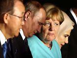 Merkel auf dem G20-Gipfel mit UN-Generalsekretär Ban (l.), den Präsidenten Putin (2.v.l.) und Erdogan sowie dessen Frau.