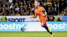 Tor für Oranje: Kapitän Wesley Sneijder.