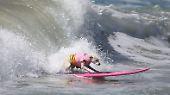 Mit dem Herrchen auf dem Brett: Hunde suchen die perfekte Welle