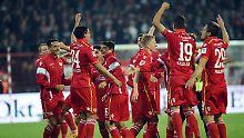 Ausgelassen in Köpenick: Unions Spieler nach dem Sieg gegen St. Pauli.
