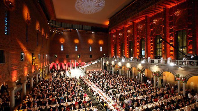 Alljährlich im Dezember speisen die Nobelpreisträger bei einem großen Bankett in Stockholm.