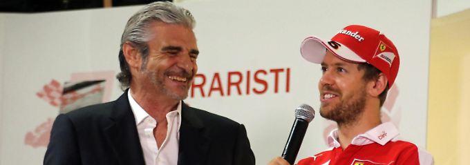 Nach Baldisserris Meinung leidet das Ferrari-Team mit Maurizio Arrivabene (l.) als Teamchef unter mangelnder Innovation.