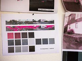 Eine Farbproportion und Ausschnitte von Straßenpanoramen, mit denen Pretnar arbeitet.