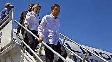 UN-Generalsekretär Ban Ki Moon bei seiner Ankunft in Haiti