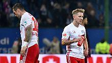 Hurra, heute geht's an die Saale: Pierre Michel Lasogga und Lewis Holtby, Hamburger SV.