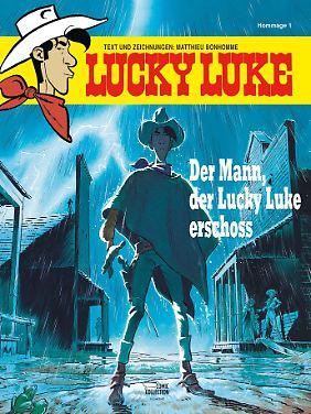 """""""Der Mann, der Lucky Luke erschoss"""" ist als Soft- und Hardcover bei Egmont Ehapa erschienen, je 64 Seiten, 7,99/15 Euro."""