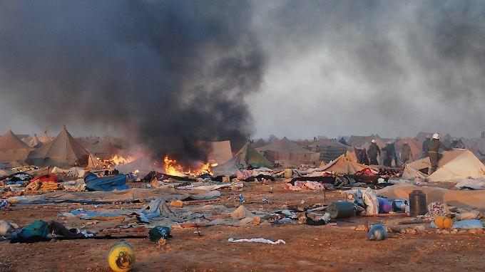 Marokkanische Sicherheitskräfte haben ein Zeltlager in der Westsahara geräumt.