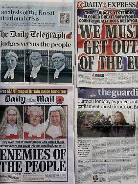 """Die Titelseiten einiger britischer Tageszeitungen beschuldigen die Richter als """"Gegner der Bevölkerung""""."""