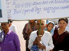 Protest gegen die Vertreibung von angestammtem Land in Kambodscha.