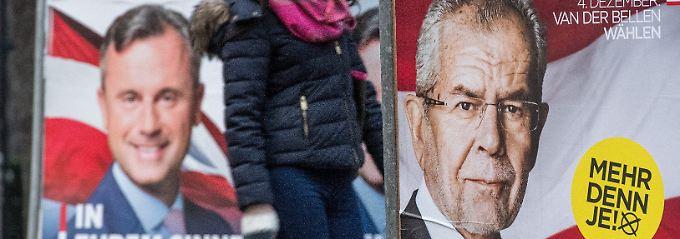 Führen seit einem guten Jahr Wahlkampf: Hofer (linkes Plakat) und van der Bellen