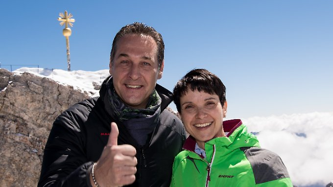 FPÖ-Chef Heinz Christian Strache und AfD-Chefin Frauke Petry im Sommer auf der Zugspitze.