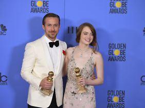 Ryan Gosling und Emma Stone bei der Verleihung der Golden Globe Awards am Sonntag.