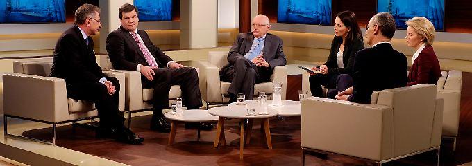 Wills Gäste, von links nach rechts: Dieter Kempf, Ralph Freund, Günther Verheugen, Michael Wolffsohn und Ursula von der Leyen.