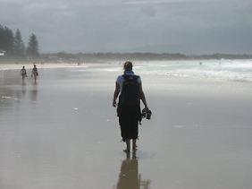 Am Strand von Byron Bay: Das Surferparadies liegt nicht allzu weit vom Dschungelcamp entfernt.