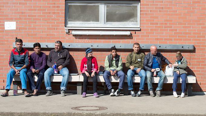 Vor einer Flüchtlingsunterkunft im hessischen Gießen.