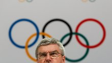 FILE - In this Monday, Aug. 3, 2015 file photo, International Olympic Committee President Thomas Bach speaks at a press conference after the 128th IOC session in Kuala Lumpur, Malaysia.  On Monday, July 18, 2016 WADA investigator Richard McLaren confirmed claims of state-run doping in Russia.  (AP Photo/Joshua Paul, File)
