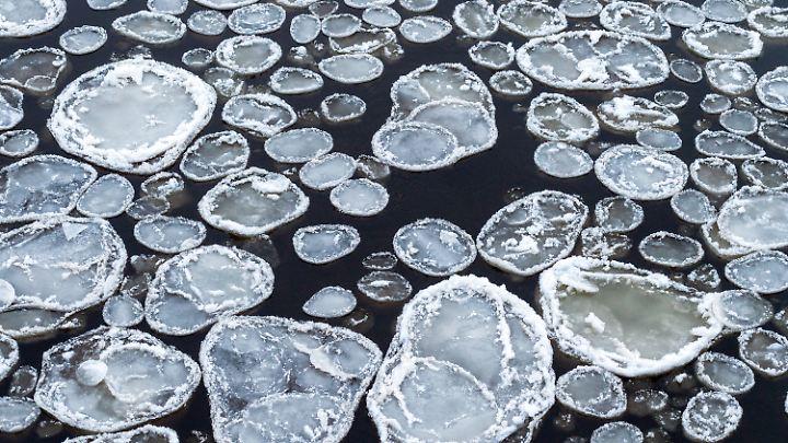 Eisschollen auf einem Fluss. Warum sind sie eher milchig und nicht klar?