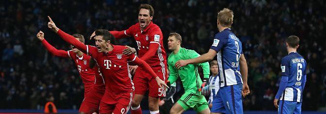 Bayerns Robert Lewandowski nach seinem späten Tor.